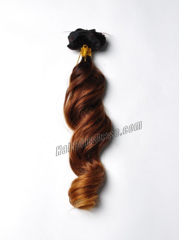 Golden Ombre Clip In Human Hair Extensions Three Tone Body Wave