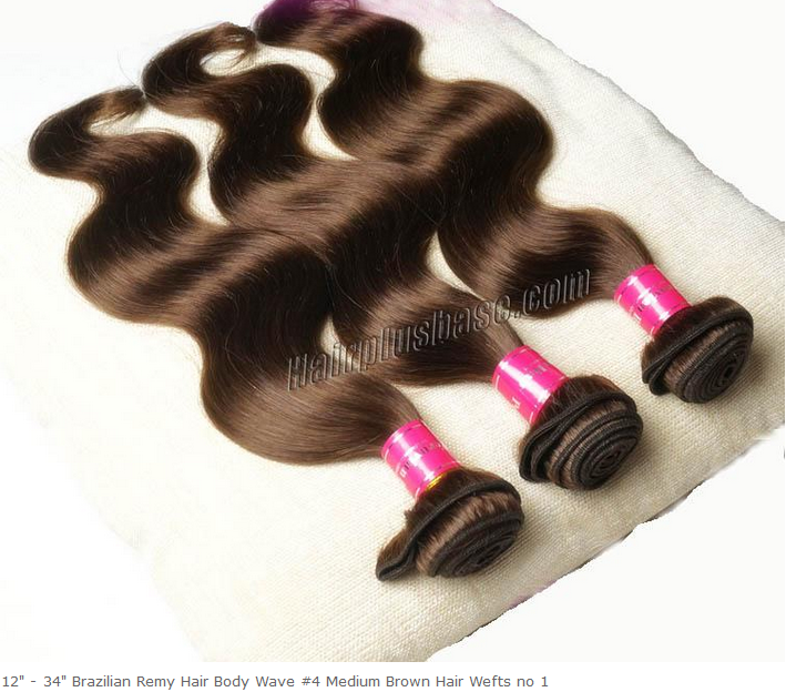 12-34inch Brazilian Remy Hair Body Wave #4 Medium Brown Hair Wefts