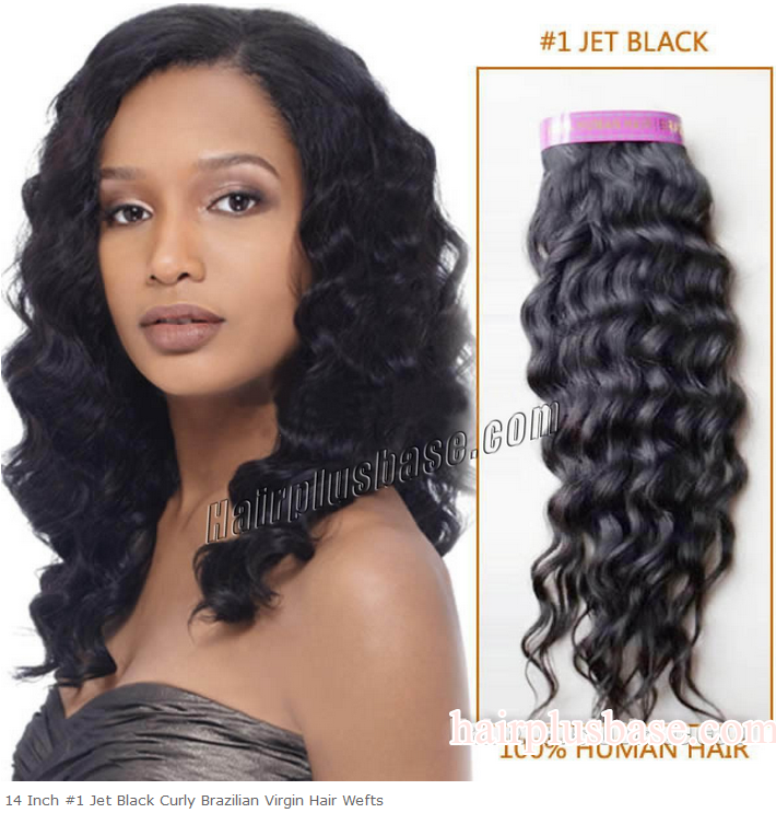 14inch #1 Jet Black Curly Brazilian Virgin Hair Wefts