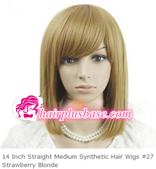 14inch Straight Medium Hair Wigs #27 Strawberry Blonde