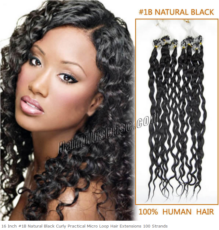 16inch #1b Natural Black Curly Micro Loop Hair Extensions 100s