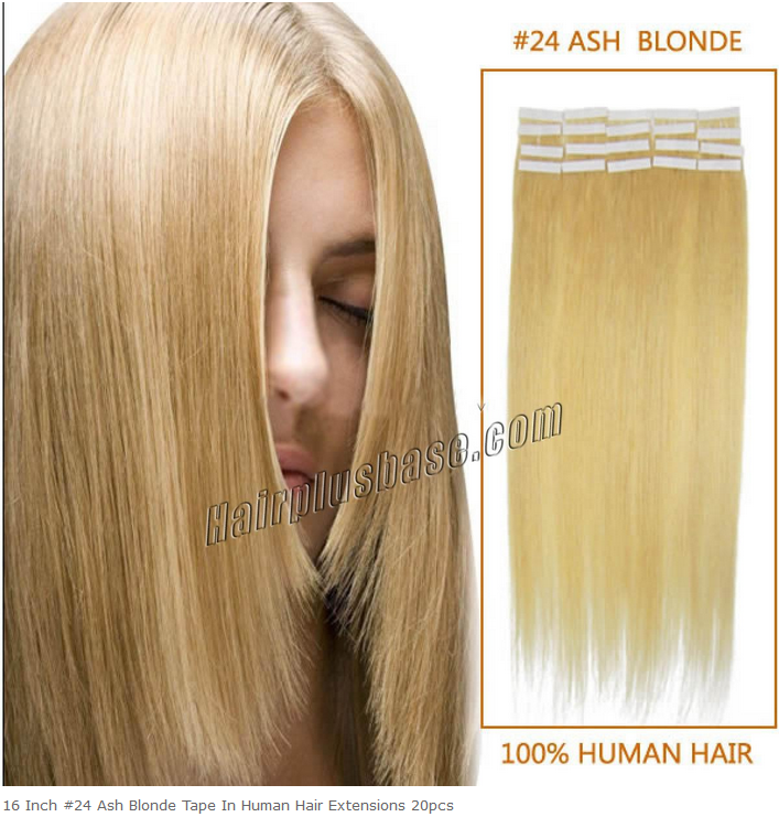 16inch #24 Ash Blonde Tape on Human Hair Extensions 20pcs
