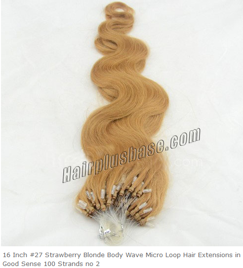 16inch #27 Strawberry Blonde Body Wave Micro loop Hair Extensions 100 Strands