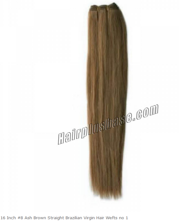 16inch #8 Ash Brown Straight Brazilian Virgin Hair Wefts