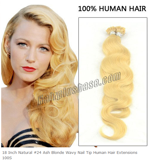 18inch #24 Ash Blonde Wavy Nail Tip Human Hair Extensions 100s