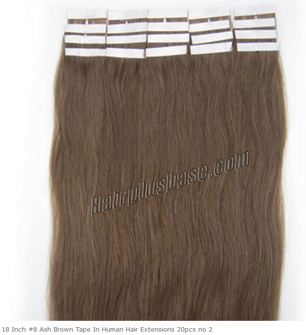 18inch #8 Ash Brown Tape in Human Hair Extensions 20pcs