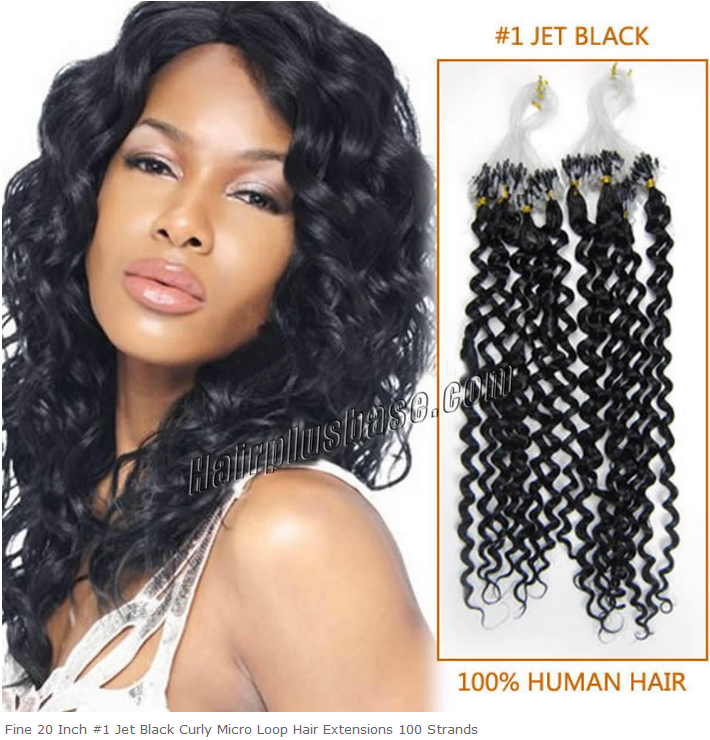 20inch #1 Jet Black Curly Micro Loop Hair Extensions 100s