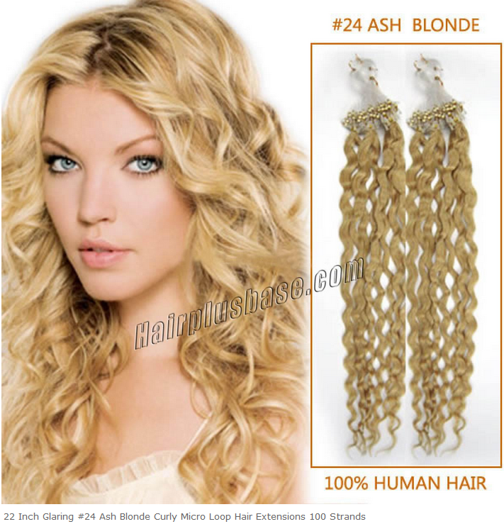 22inch #24 Ash Blonde Curly Micro Loop Hair Extensions 100s
