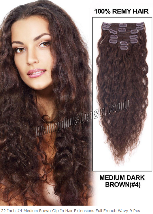 22inch #4 Medium Brown Clip in Hair Extensions Full French Wavy 9pcs