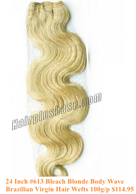 24inch #613 bleach blonde body wave Brazilian hair wefts