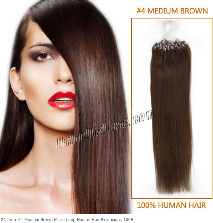 26inch #4 Medium Brown Micro Loop Human Hair Extensions 100s
