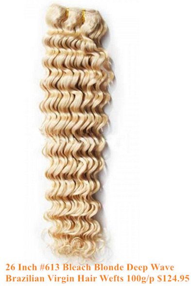 26inch #613 bleach blonde deep wave Brazilian hair wefts