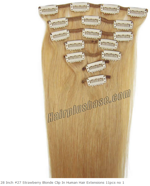 28inch #27 Strawberry Blonde Clip in Human Hair Extensions 11pcs