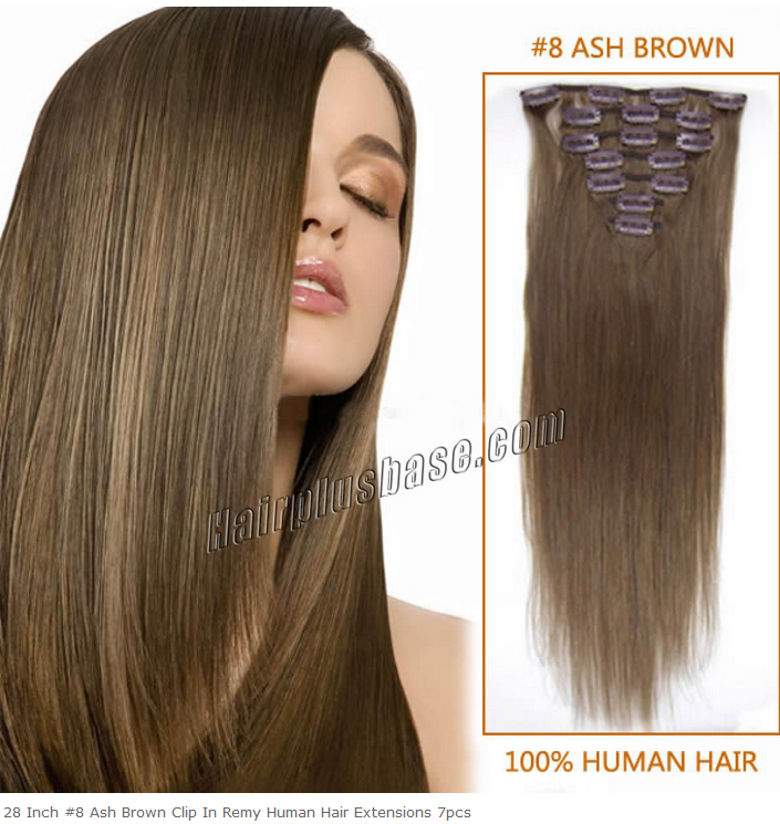 28inch #8 Ash Brown Clip in Remy Human Hair Extensions 7pcs