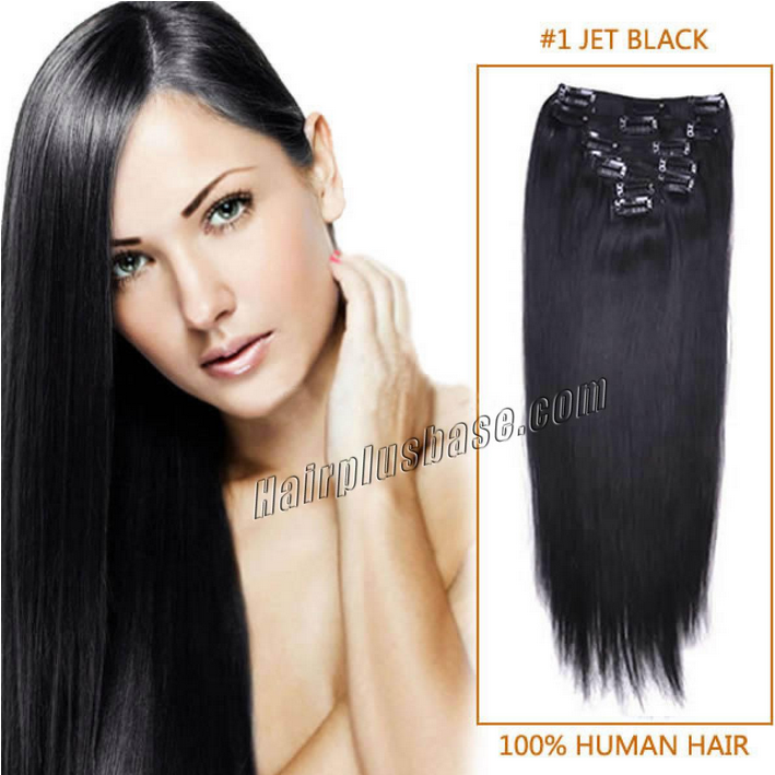 32inch #1 Jet Black Clip in Human Hair Extensions 11pcs