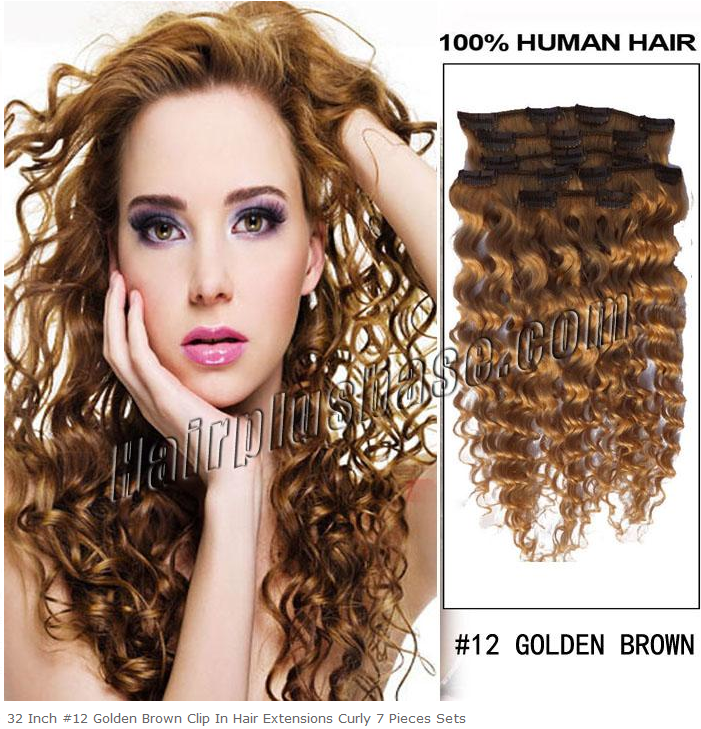 32inch #12 Golden Brown Clip in Hair Extensions Curly 7pcs