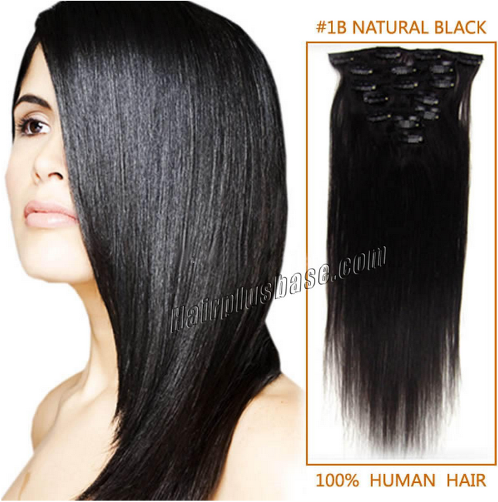 32inch #1b Natural Black Clip in Human Hair Extensions 11pcs