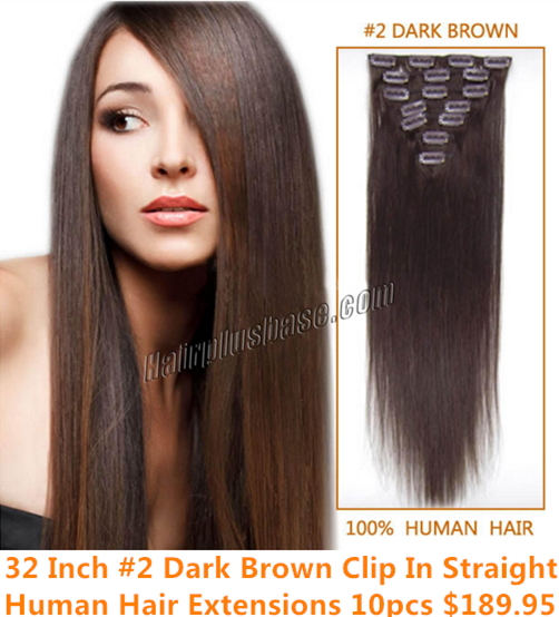 32inch #2 Dark Brown Clip in Straight Human Hair Extensions 10pcs