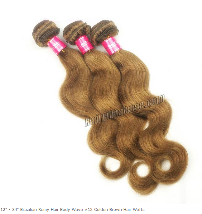 Brazilian Remy Hair Body Wave #12 Golden Brown Hair Wefts