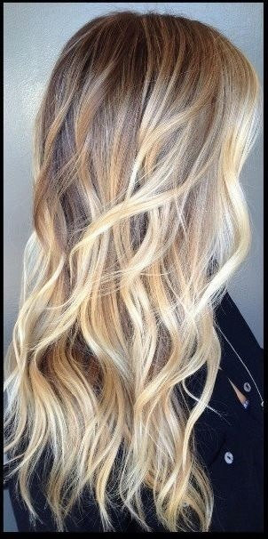 ash blonde ombre long wavy hair