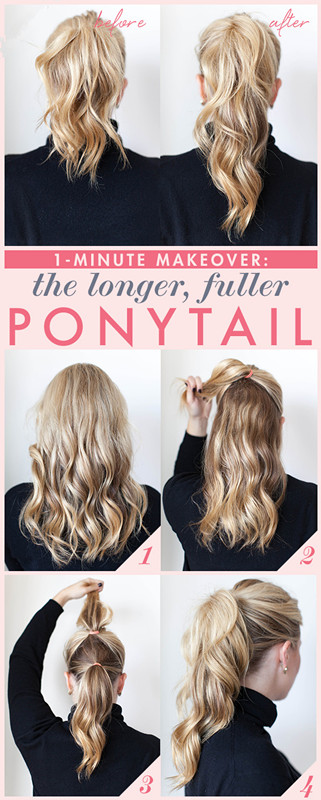 fuller and longer ponytail with own natural hair