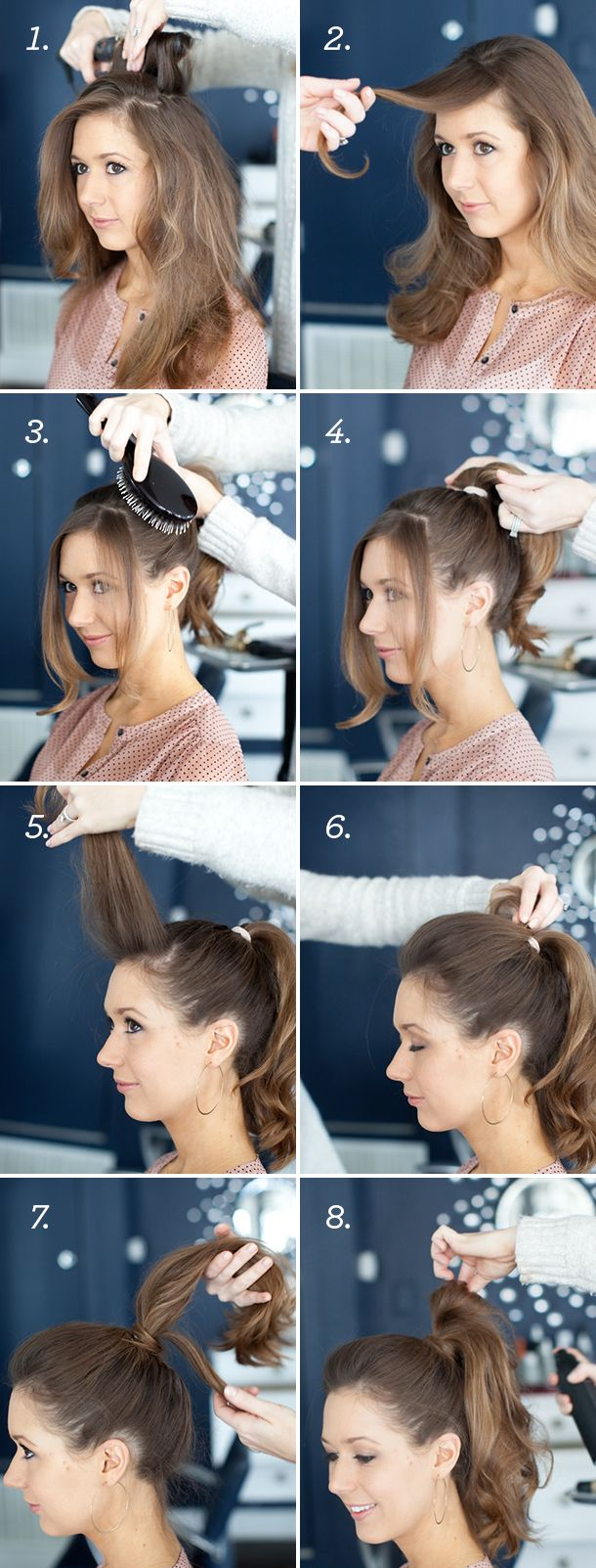 high ponytail with bump