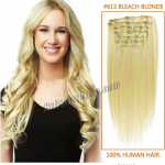 22 Inch #613 Bleach Blonde Clip in Remy Human Hair Extensions