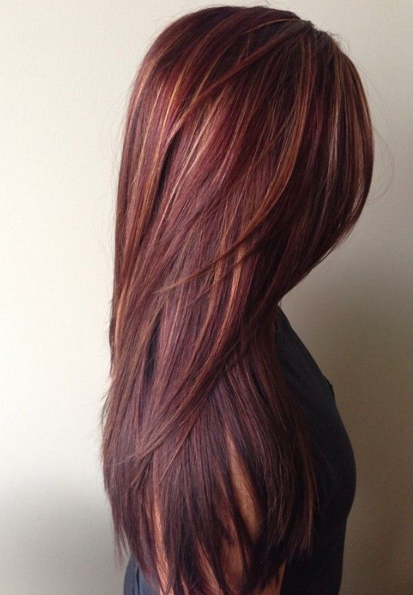 Dark red rich hair color with caramel highlights  (2)