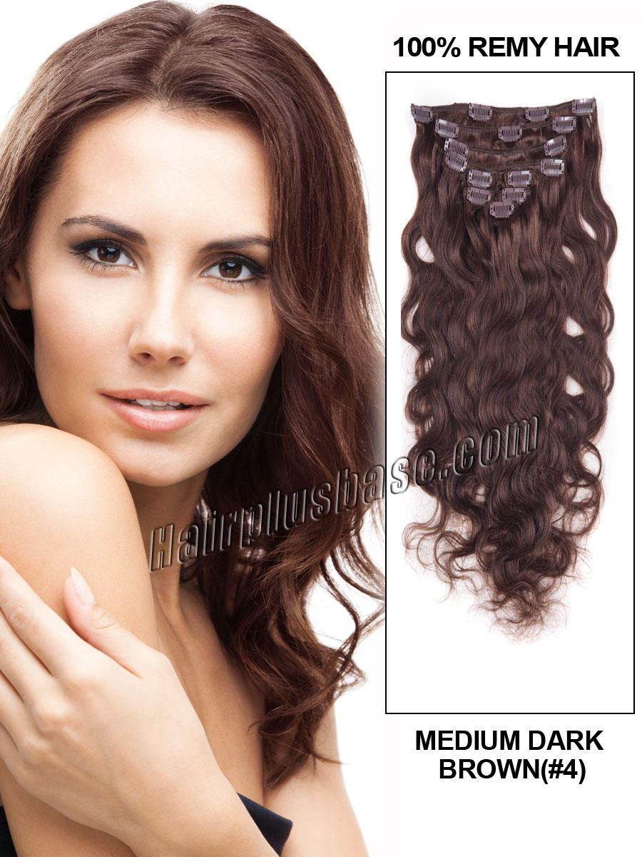 16-inch--4-medium-brown-clip-in-indian-remy-human-hair-extensions-fascinating-body-wave-7-pcs-21585-tv